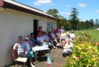 Visiting group enjoying morning tea